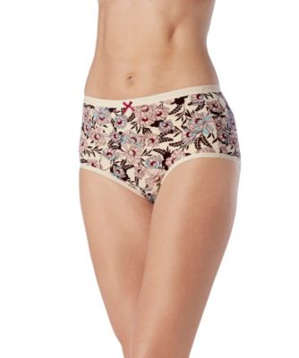 Women's Denver Hayes 2-Pack PFP Cotton Stretch Modern Brief Nude/Burgundy Floral Small