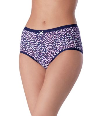 Women's Denver Hayes 2-Pack PFP Cotton Stretch Modern Brief Navy/Ivory Animal Print Large