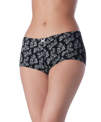 Women's Denver Hayes 3-Pack Cotton Stretch Boyshort Black/Grey Floral Extra Large