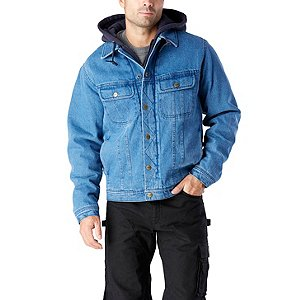 Men's Washed Denim Sherpa Lined Hooded Jean Jacket | Mark's