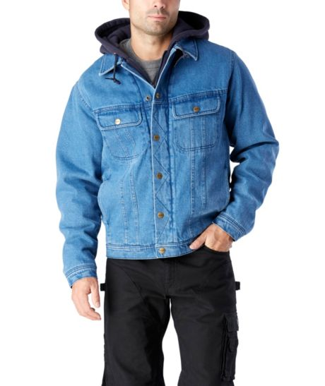 Washed Denim Sherpa Lined Hooded Jean Jacket | Mark's