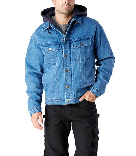 92b2d89232e Dakota Men s Washed Denim Sherpa Lined Hooded Jean Jacket