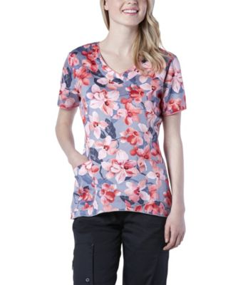 Women's HEALTH PRO V-Neck Curve Bottom Coral Bloom Print Scrub Top Multi Medium