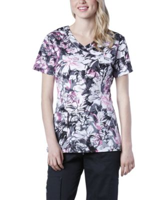 Women's HEALTH PRO Keep In Bloom Print Scrub Top Multi X Small