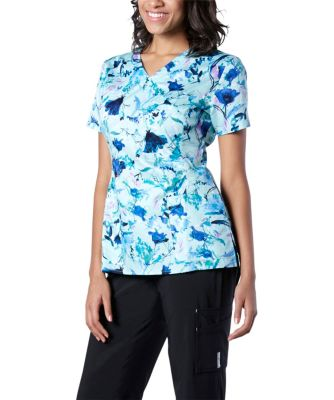 Women's HEALTH PRO Mock Wrap Print Scrub Top Multi Small