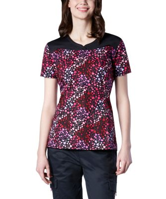 Women's HEALTH PRO Notched Neck Top Grenadine Print Scrub Top Multi Large
