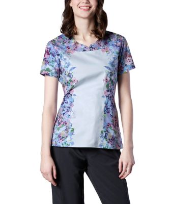Women's Scrub Kulture Notched Neck Waterfall Bouquet Print Scrub Top Multi Medium