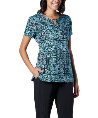 Women's Scrub Kulture V-Neck Ikat Print Scrub Top Multi Small
