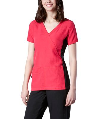 Women's HEALTH PRO Cross Over 4-Way Stretch Side Knit Scrub Top Red 2 Extra Large