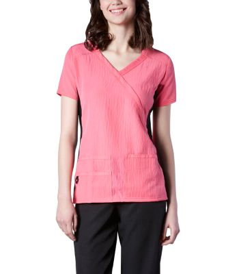Women's HEALTH PRO Cross Over 4-Way Stretch Side Knit Scrub Top Pink Small