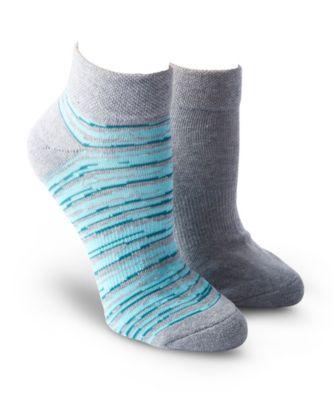 Women's Denver Hayes Women's 2-Pack Broken Stripe Sport Ankle Sock Grey/Teal 6-10