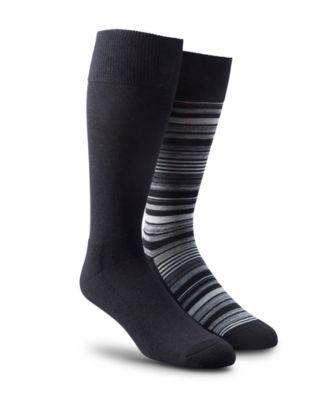 Men's Denver Hayes Men's 2-Pack Stripe/Solid Casual Sock Black 7-12