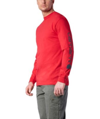 Men's Carhartt Signature Sleeve Logo Long-Sleeve T-Shirt Red Extra Large / Tall