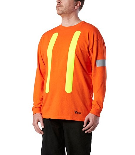 Men's Safety Long-Sleeve Cotton T-Shirt With Arm Striping