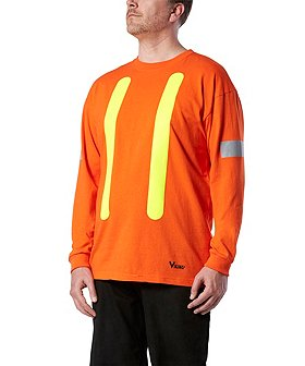 Viking Men's Safety Long-Sleeve Cotton T-Shirt With Arm Striping