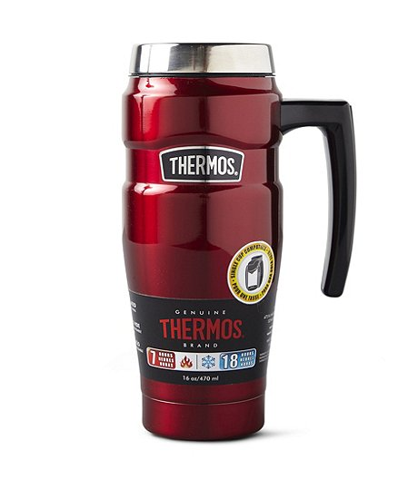 16 oz Genuine Thermos Brand Stainless Steel King Thermos Travel Mug With Handle