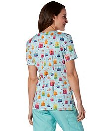 4e719365243 ... Scrub Kulture Women's V-Neck Laterns At Night Print Scrub Top