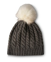 Denver Hayes Cable Hat With Faux Fur Pom Pom ... 2e9cdc5e2a02