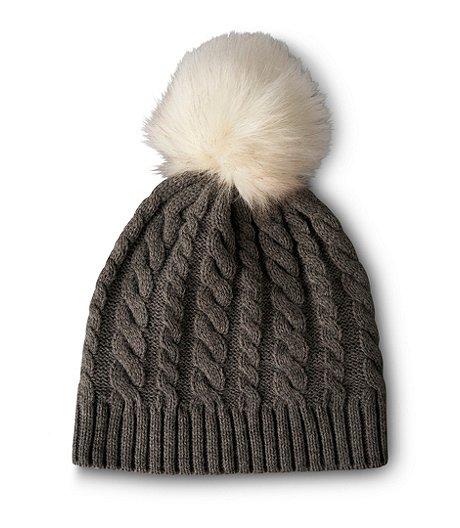 1c69576232d Denver Hayes Cable Hat With Faux Fur Pom Pom