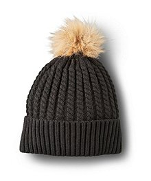 Denver Hayes Cable Knit Hat With Faux Fur Pom Pom ... 4887db35f7e