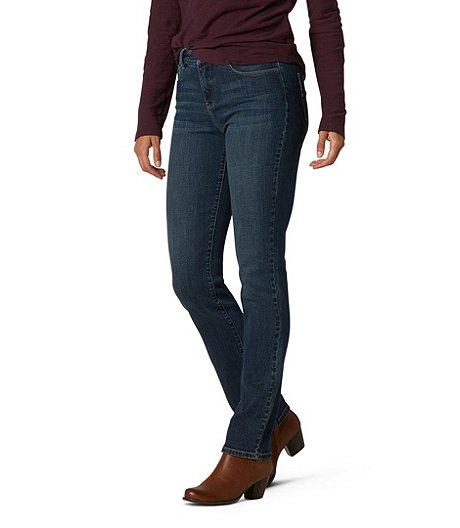 d843d7a342 Denver Hayes Women's Hanna High-Rise Curve-Tech Straight Leg Jeans