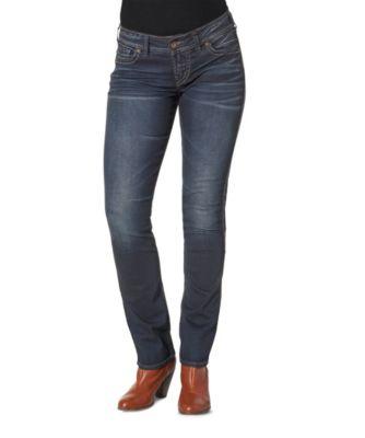 Women's Silver® Jeans Co. Elyse Mid-Rise Straight Jeans Dark Indigo 32