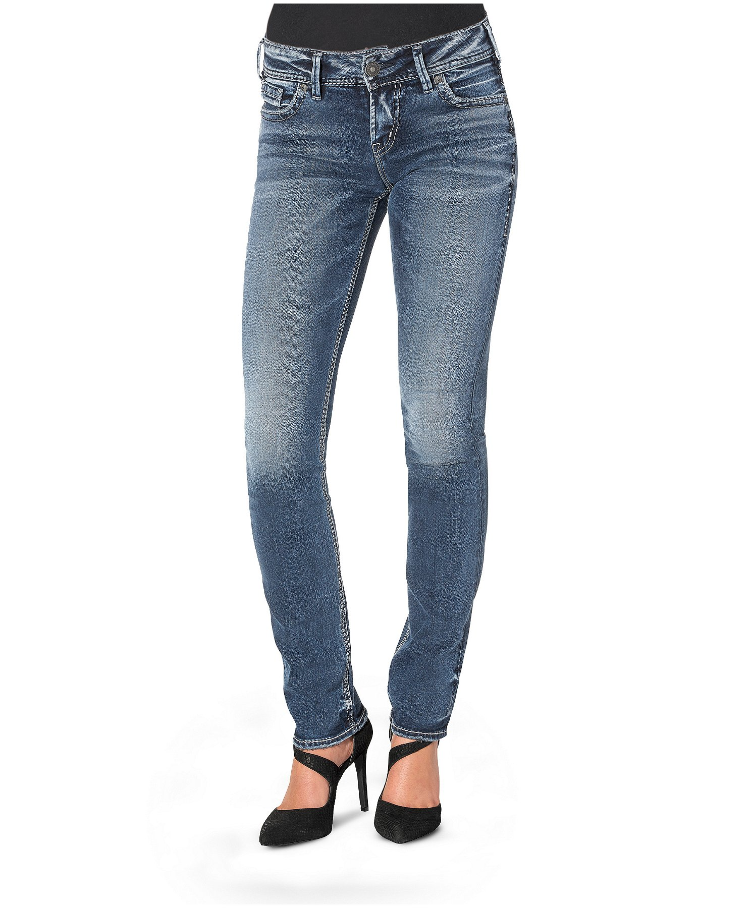 Silver Jeans Co Womens Elyse Relaxed Fit Mid Rise Straight Leg
