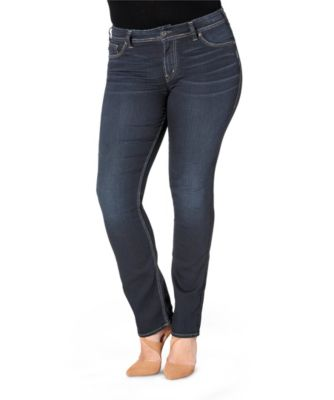 Women's Silver® Jeans Co. Suki High Rise Straight Leg Jeans - Plus Size Dark Indigo 16 Plus / 32