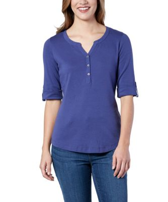 Women's Denver Hayes Everyday Henley Shirt Medium Indigo X Small