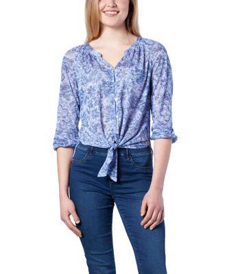 Women's Denver Hayes Tie Front Printed Blouse Medium Blue Medium