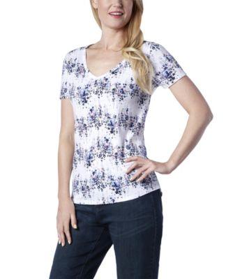 Women's Denver Hayes All Over Floral Stripe V-Neck T-Shirt White Print Extra Large