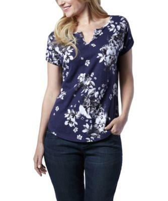 Women's Denver Hayes Split V-Neck All Over Floral T-Shirt Bright Blue Extra Large