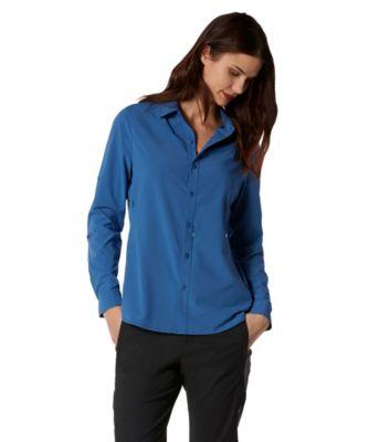 7e3e9cc8d2db Women s Long Sleeve Button-Up Travel Shirt Blue Small