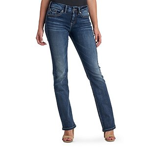 Silver Women/'s Suki Slim Boot Cut Dark Wash Mid-Rise Jeans L93616SSX471