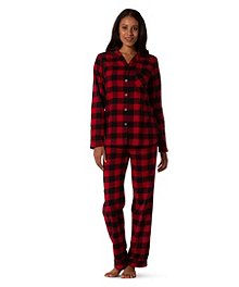 Denver Hayes 2-Piece Notch Neck Flannel Pajama Set ... e2c1c712f