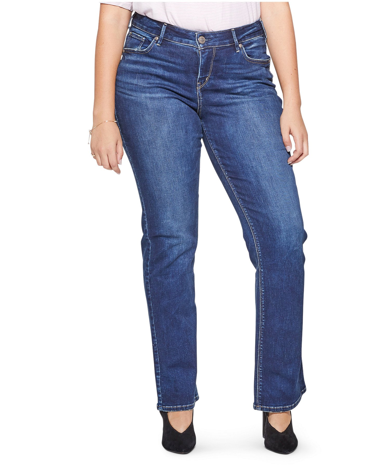 Silver Jeans Co Womens Plus Size Avery Curvy Fit High Rise Slim Leg Jeans