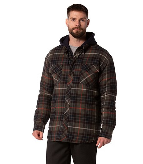 Men S Plaid Hooded Quilted Flannel Shirt Mark S