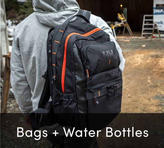 bags and water bottles
