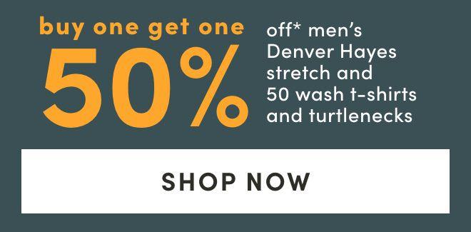 Men's Denver Hayes Stretch and 50 Wash T-Shirts and Turtlenecks - Bogo 50%