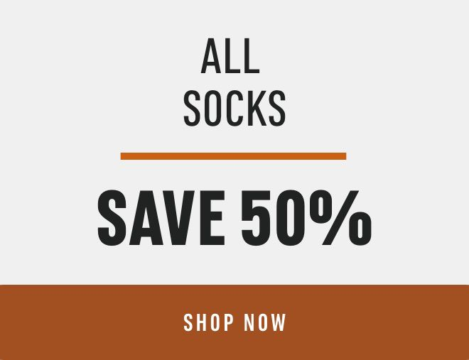 All Socks: Save 50%