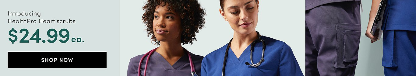 Introducing HealthPro Heart Scrubs. Great Value at $24.99 each piece. Shop Now