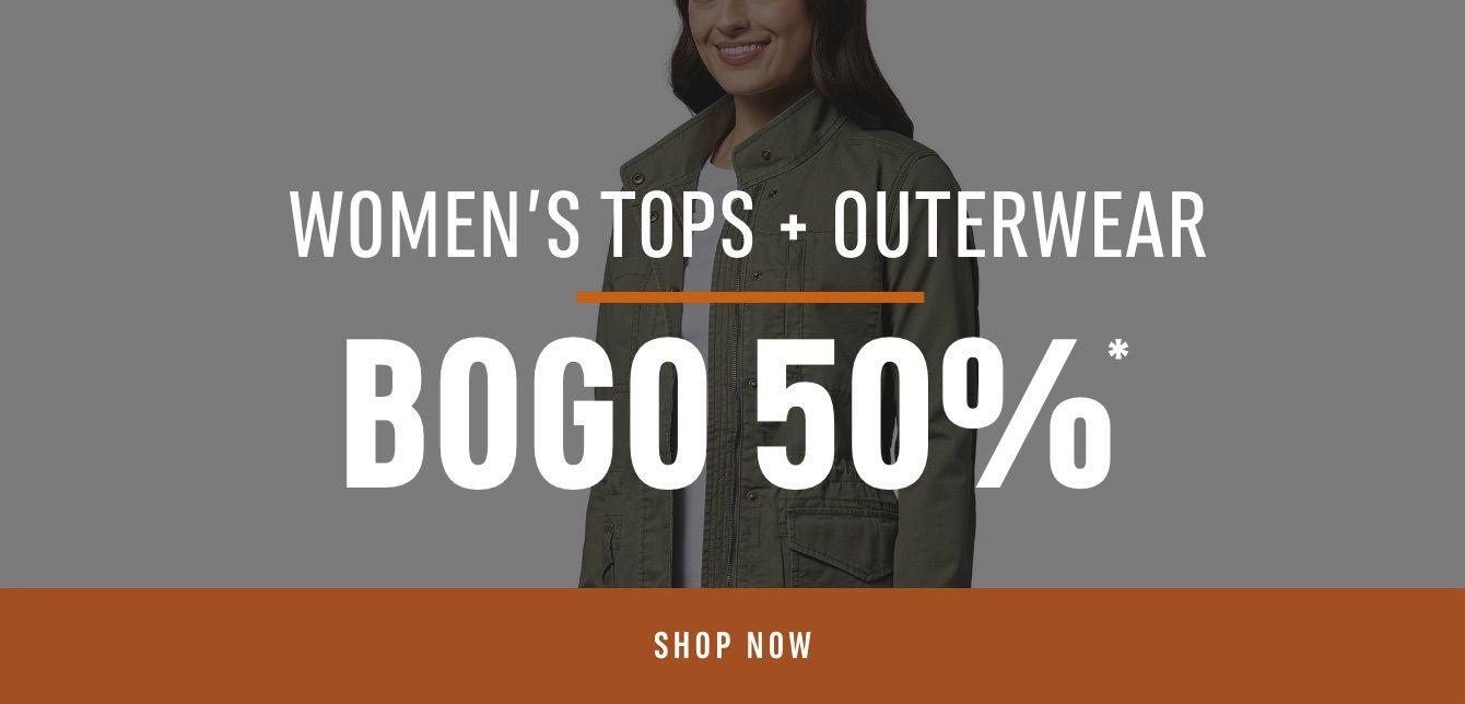 Women's TOPS + OUTERWEAR BOGO 50%*