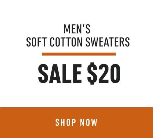 Door Crasher Men's Soft Cotton Sweaters: Sale $20