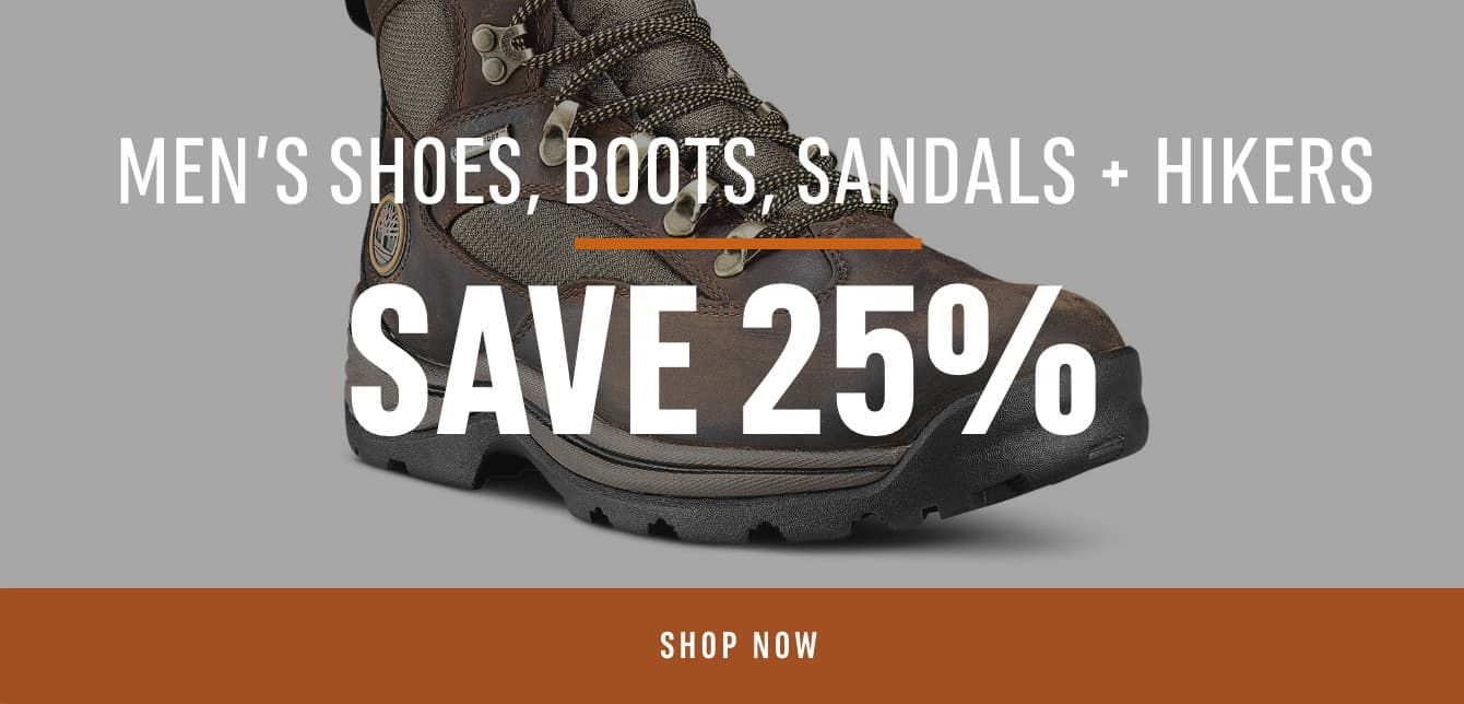 Men's Shoes, Boots, Sandals & Hikers- Save 25%