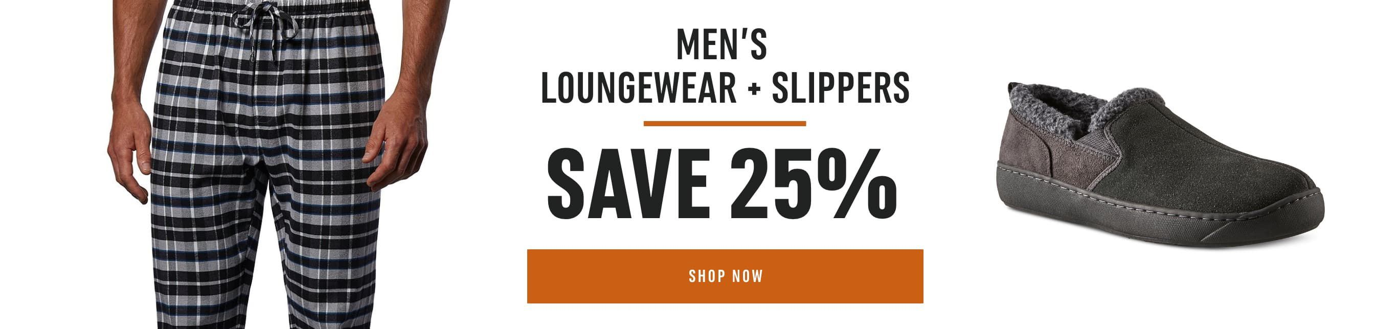 Men's Loungewear and Slippers: Save 25%