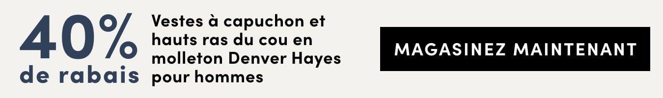 Save 40% on Men's Denver Hayes Fleece Hoodies and Crews