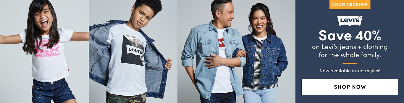 Door Crasher: Save 40% on Levi's Jeans + Clothing for all the family. Shop Now