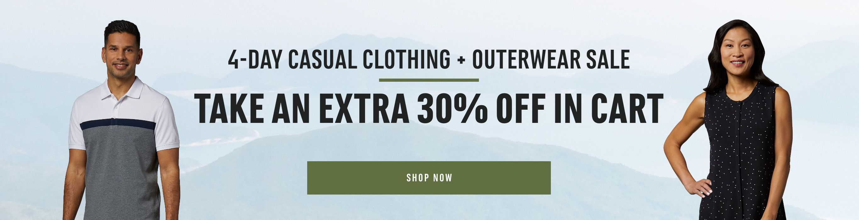 4-Day Casual Clothing & Outerwear Sale - Take an Extra 30% Off in Cart