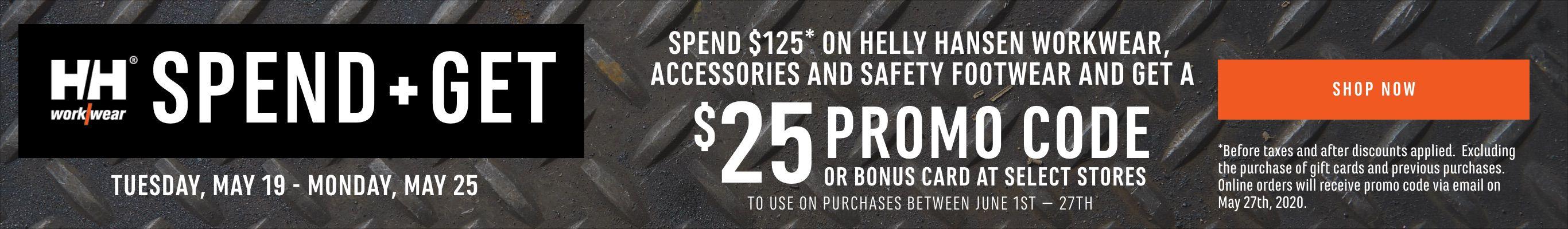 Spend $125, Get $25, Helly Hansen Workwear, Accessories and Safety Footwear