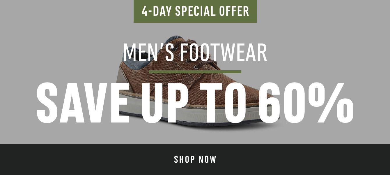 4-Day Special Offer Men's Footwear: Save Up to 60%